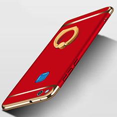 Cover Lusso Metallo Laterale e Plastica con Anello Supporto per Huawei P8 Lite (2017) Rosso