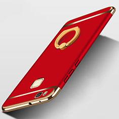 Cover Lusso Metallo Laterale e Plastica con Anello Supporto per Huawei P9 Lite Rosso
