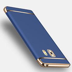 Cover Lusso Metallo Laterale e Plastica con Anello Supporto per Samsung Galaxy C9 Pro C9000 Blu