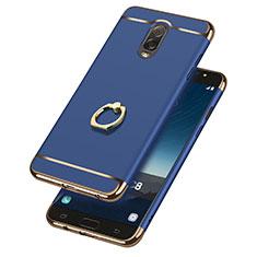 Cover Lusso Metallo Laterale e Plastica con Anello Supporto per Samsung Galaxy J7 Plus Blu