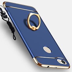 Cover Lusso Metallo Laterale e Plastica con Anello Supporto per Xiaomi Redmi Note 5A High Edition Blu