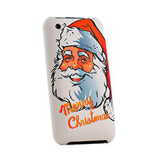 Cover Plastica Rigida Natale per Apple iPhone 3G 3GS Rosso