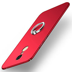 Cover Plastica Rigida Opaca con Anello Supporto A02 per Xiaomi Redmi Note 4 Standard Edition Rosso