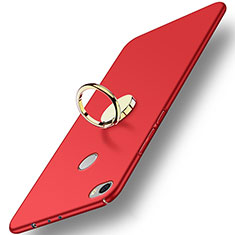 Cover Plastica Rigida Opaca con Anello Supporto A03 per Xiaomi Mi Max Rosso