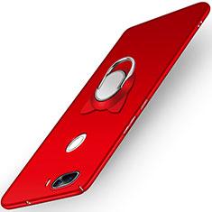 Cover Plastica Rigida Opaca con Anello Supporto A04 per Huawei Nova 2 Plus Rosso