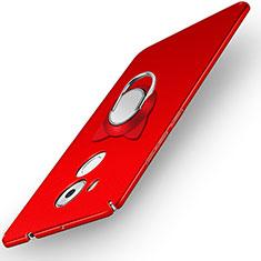 Cover Plastica Rigida Opaca con Anello Supporto A05 per Huawei Mate 8 Rosso