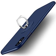 Cover Plastica Rigida Opaca con Anello Supporto per Apple iPhone Xs Max Blu