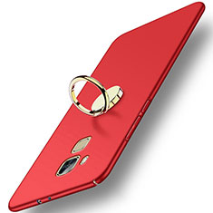 Cover Plastica Rigida Opaca con Anello Supporto per Huawei G9 Plus Rosso