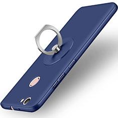 Cover Plastica Rigida Opaca con Anello Supporto per Huawei Nova Blu