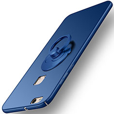 Cover Plastica Rigida Opaca con Anello Supporto per Huawei P10 Lite Blu