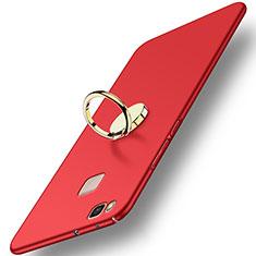 Cover Plastica Rigida Opaca con Anello Supporto per Huawei P9 Lite Rosso