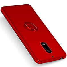 Cover Plastica Rigida Opaca con Anello Supporto per Nokia 6 Rosso