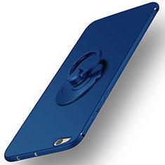 Cover Plastica Rigida Opaca con Anello Supporto per Xiaomi Mi 5C Blu