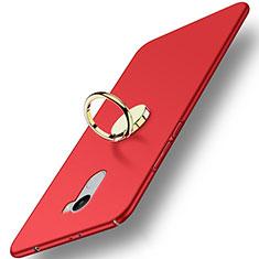 Cover Plastica Rigida Opaca con Anello Supporto per Xiaomi Redmi 4 Standard Edition Rosso