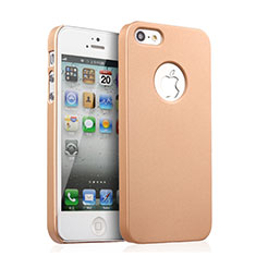 Cover Plastica Rigida Opaca con Foro per Apple iPhone 5S Oro