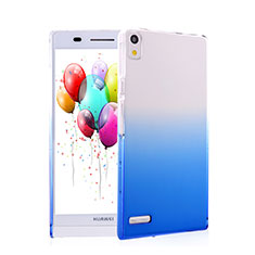 Cover Plastica Trasparente Rigida Sfumato per Huawei Ascend P6 Blu