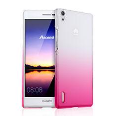 Cover Plastica Trasparente Rigida Sfumato per Huawei Ascend P7 Rosa