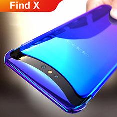 Cover Plastica Trasparente Rigida Sfumato per Oppo Find X Blu