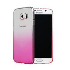 Cover Plastica Trasparente Rigida Sfumato per Samsung Galaxy S6 SM-G920 Rosa