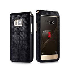 Cover Portafoglio In Pelle Coccodrillo C01 per Samsung W(2016) Nero