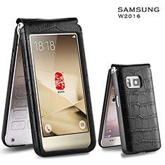 Cover Portafoglio In Pelle Coccodrillo C03 per Samsung W(2016) Nero