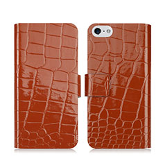 Cover Portafoglio In Pelle con Supporto Coccodrillo per Apple iPhone 5S Marrone