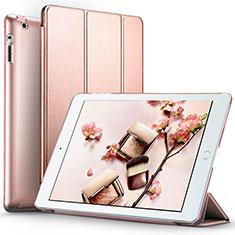 Cover Portafoglio In Pelle con Supporto L01 per Apple iPad 4 Oro Rosa