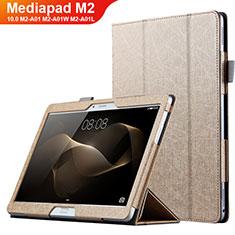 Cover Portafoglio In Pelle con Supporto L01 per Huawei MediaPad M2 10.0 M2-A01 M2-A01W M2-A01L Oro