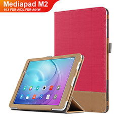 Cover Portafoglio In Pelle con Supporto L01 per Huawei MediaPad M2 10.1 FDR-A03L FDR-A01W Rosso