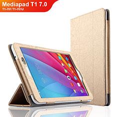 Cover Portafoglio In Pelle con Supporto L01 per Huawei Mediapad T1 7.0 T1-701 T1-701U Oro