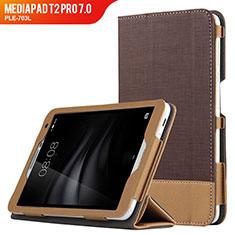 Cover Portafoglio In Pelle con Supporto L01 per Huawei MediaPad T2 Pro 7.0 PLE-703L Marrone