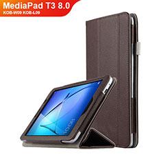 Cover Portafoglio In Pelle con Supporto L01 per Huawei MediaPad T3 8.0 KOB-W09 KOB-L09 Marrone