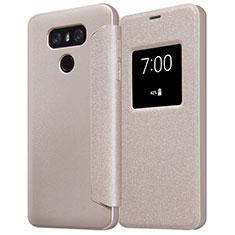 Cover Portafoglio In Pelle con Supporto L01 per LG G6 Oro