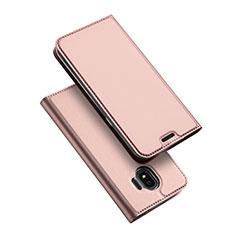 Cover Portafoglio In Pelle con Supporto L01 per Samsung Galaxy J2 Pro (2018) J250F Oro Rosa