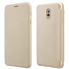 Cover Portafoglio In Pelle con Supporto L01 per Samsung Galaxy J7 Plus Oro