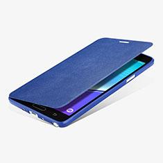 Cover Portafoglio In Pelle con Supporto L01 per Samsung Galaxy Note 4 SM-N910F Blu