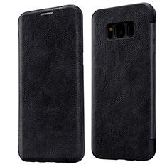 Cover Portafoglio In Pelle con Supporto L01 per Samsung Galaxy S8 Nero