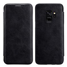 Cover Portafoglio In Pelle con Supporto L01 per Samsung Galaxy S9 Nero
