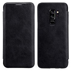 Cover Portafoglio In Pelle con Supporto L01 per Samsung Galaxy S9 Plus Nero
