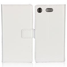 Cover Portafoglio In Pelle con Supporto L01 per Sony Xperia XZ1 Compact Bianco