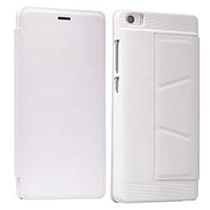 Cover Portafoglio In Pelle con Supporto L01 per Xiaomi Mi Note Bianco