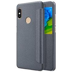 Cover Portafoglio In Pelle con Supporto L01 per Xiaomi Redmi Note 5 Grigio