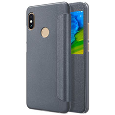 Cover Portafoglio In Pelle con Supporto L01 per Xiaomi Redmi Note 5 Pro Grigio