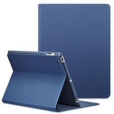 Cover Portafoglio In Pelle con Supporto L02 per Apple iPad 2 Blu