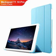 Cover Portafoglio In Pelle con Supporto L02 per Huawei Mediapad T1 10 Pro T1-A21L T1-A23L Cielo Blu