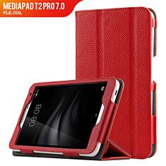 Cover Portafoglio In Pelle con Supporto L02 per Huawei MediaPad T2 Pro 7.0 PLE-703L Rosso