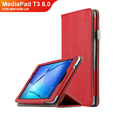 Cover Portafoglio In Pelle con Supporto L02 per Huawei MediaPad T3 8.0 KOB-W09 KOB-L09 Rosso