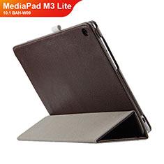 Cover Portafoglio In Pelle con Supporto L03 per Huawei MediaPad M3 Lite 10.1 BAH-W09 Marrone