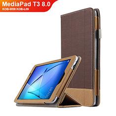 Cover Portafoglio In Pelle con Supporto L03 per Huawei MediaPad T3 8.0 KOB-W09 KOB-L09 Marrone