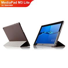 Cover Portafoglio In Pelle con Supporto L04 per Huawei MediaPad M3 Lite 10.1 BAH-W09 Marrone